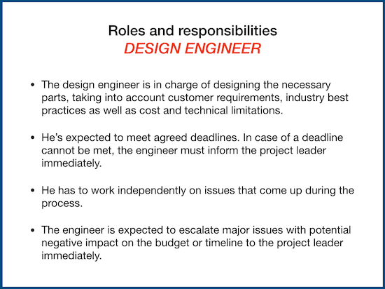 roles and responsibility example