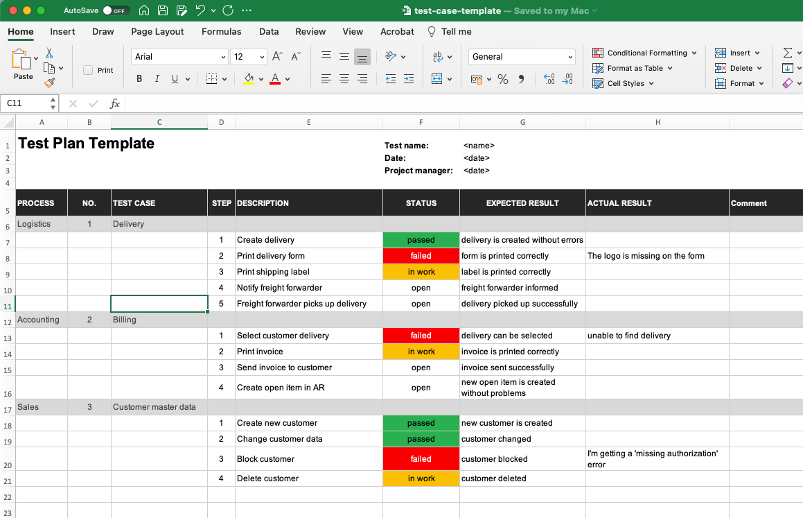 Test plan template for Excel