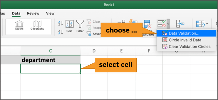 enable data validation for cell