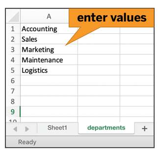 a value list must be created in a separate tab