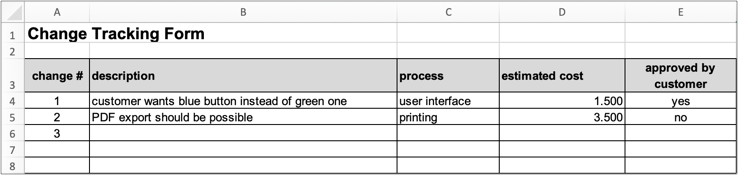 screenshot of Excel change tracking form
