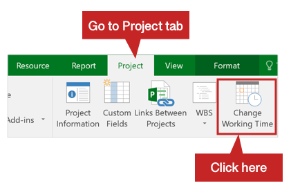 Project tab in MS Project 2016