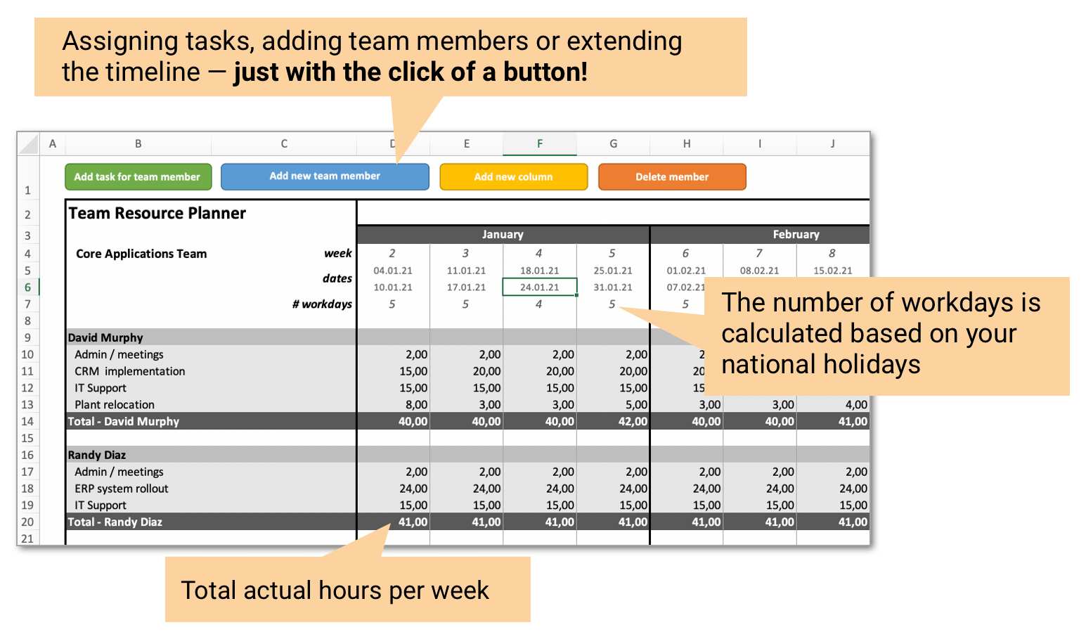 Team Planner for Excel - Detailed View