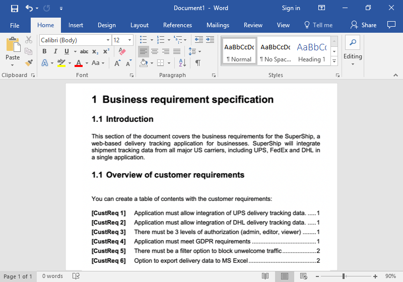 Requirement specification template with automatic requirements numbering for Word