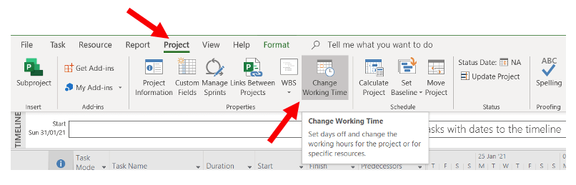 Changing working time to enable a 7-day workweek in Microsoft Project 2019