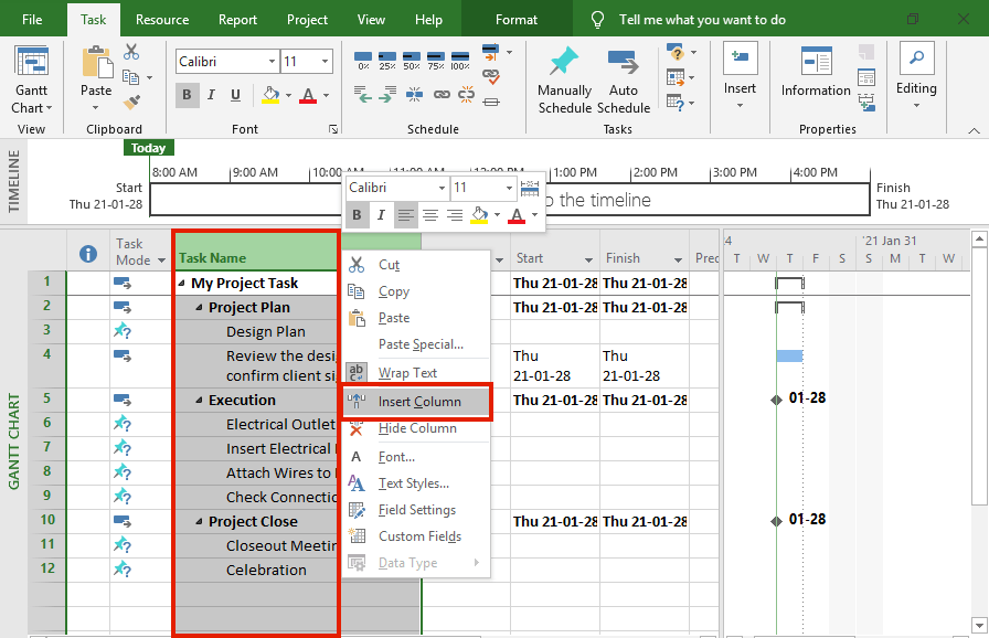 Add a separate column to show task numbers in Microsoft Project