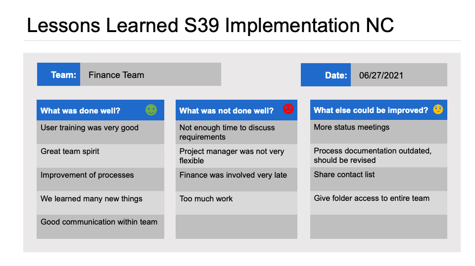 Lessons Learned Template for Powerpoint